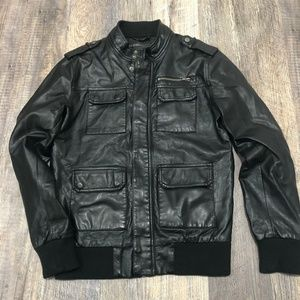 21Men Faux Leather Black Bomber Jacket